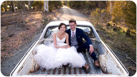 Bride & Groom in rustic ute