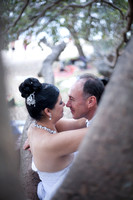 view of wedding couple through branches