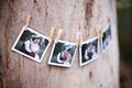 wedding polaroids pegged on line