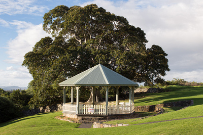 gazebo and large figtree at killalea