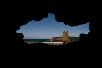 view of Cathedral Rocks from inside cave